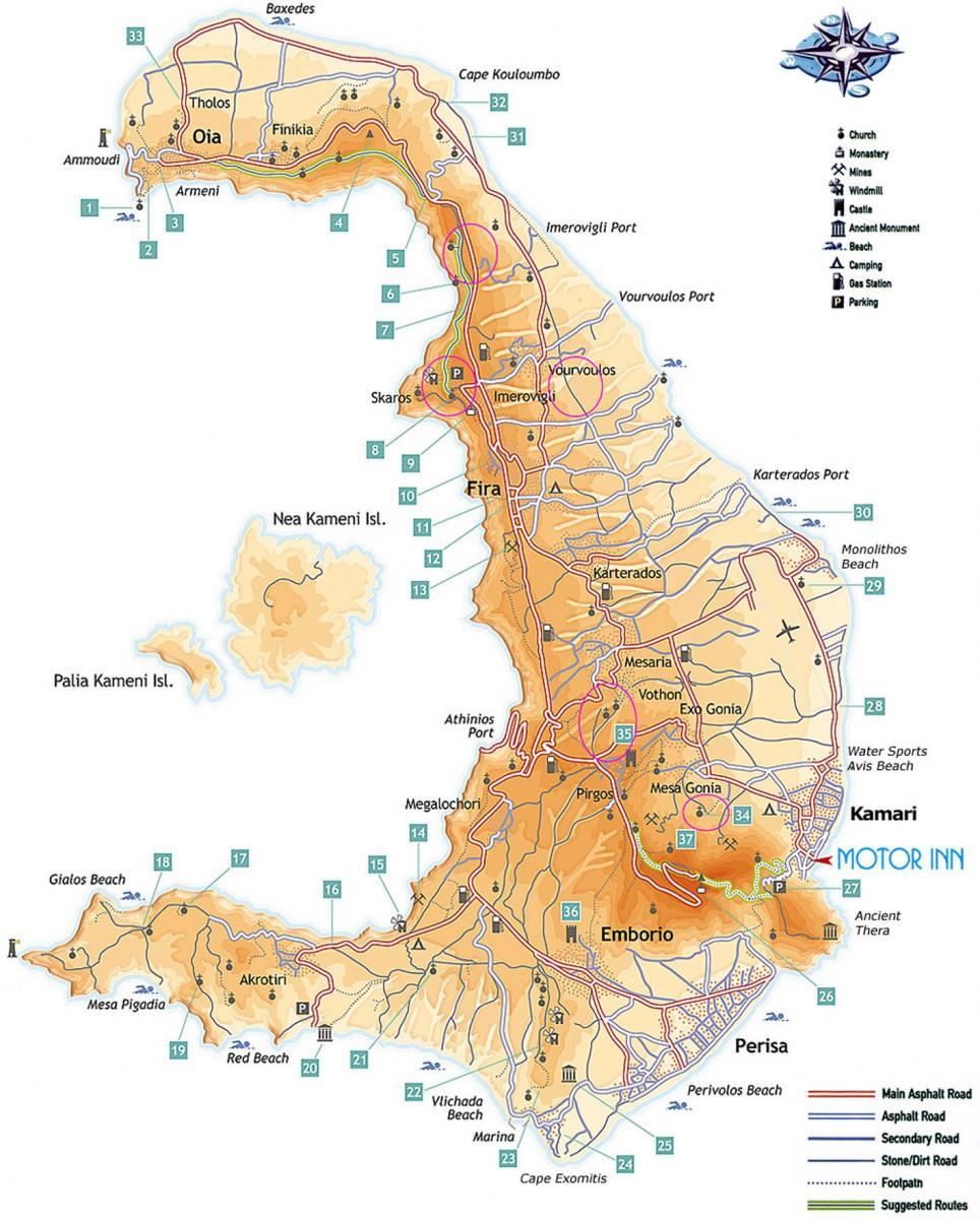 Santorini Map By Motor Inn Motor Inn Santorini Rental